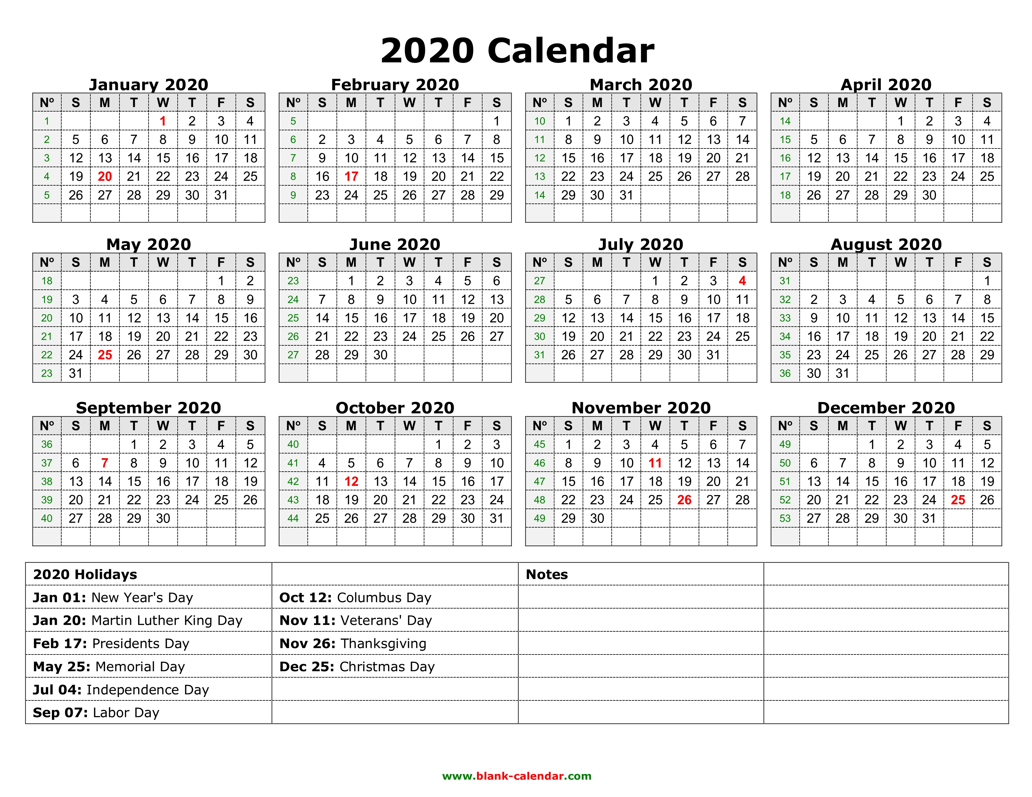 Federal Calendar 2020 Yearly Calendar 2020 | Free Download and Print