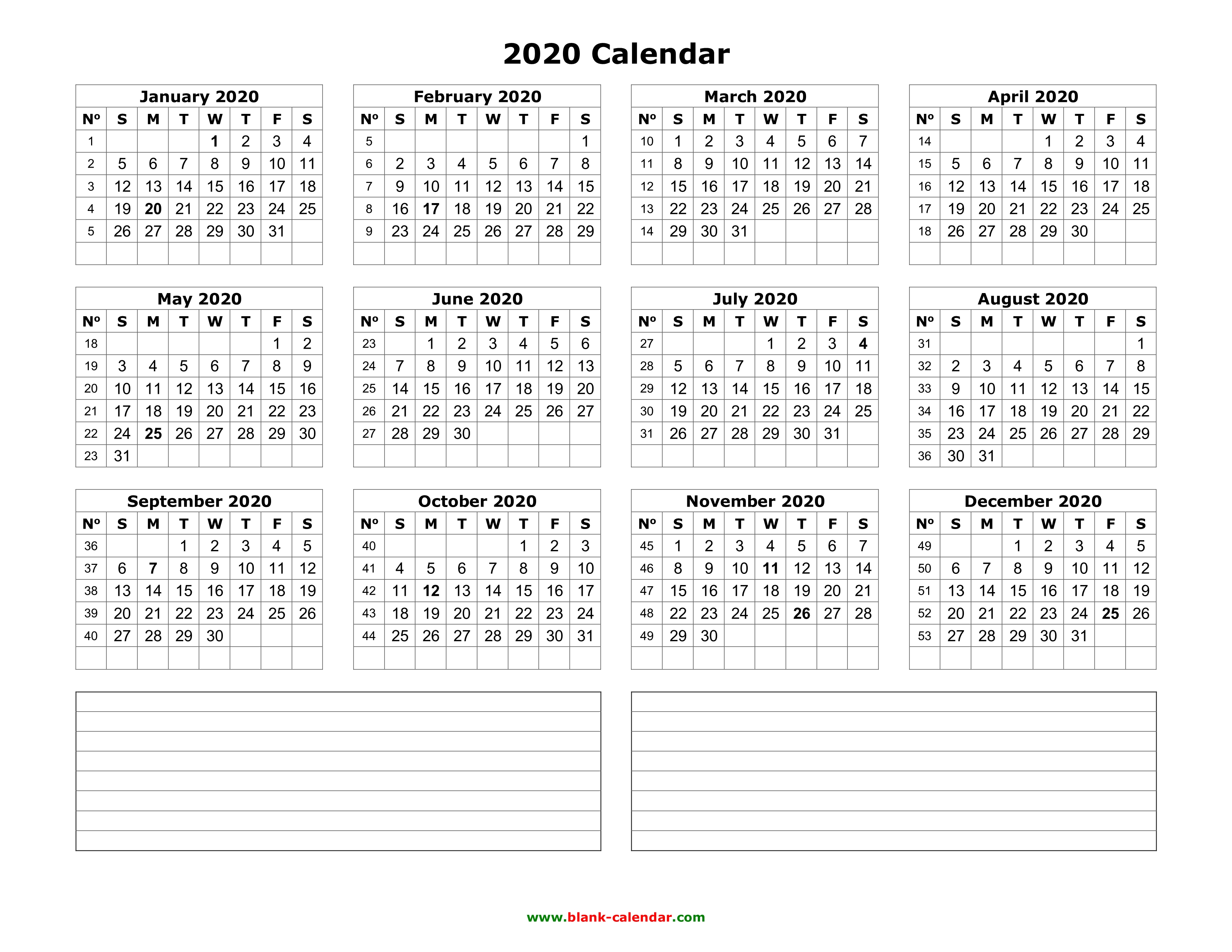 December 2020 Calendar Printable, 123 Yearly Calendar 2020 | Free Download and Print