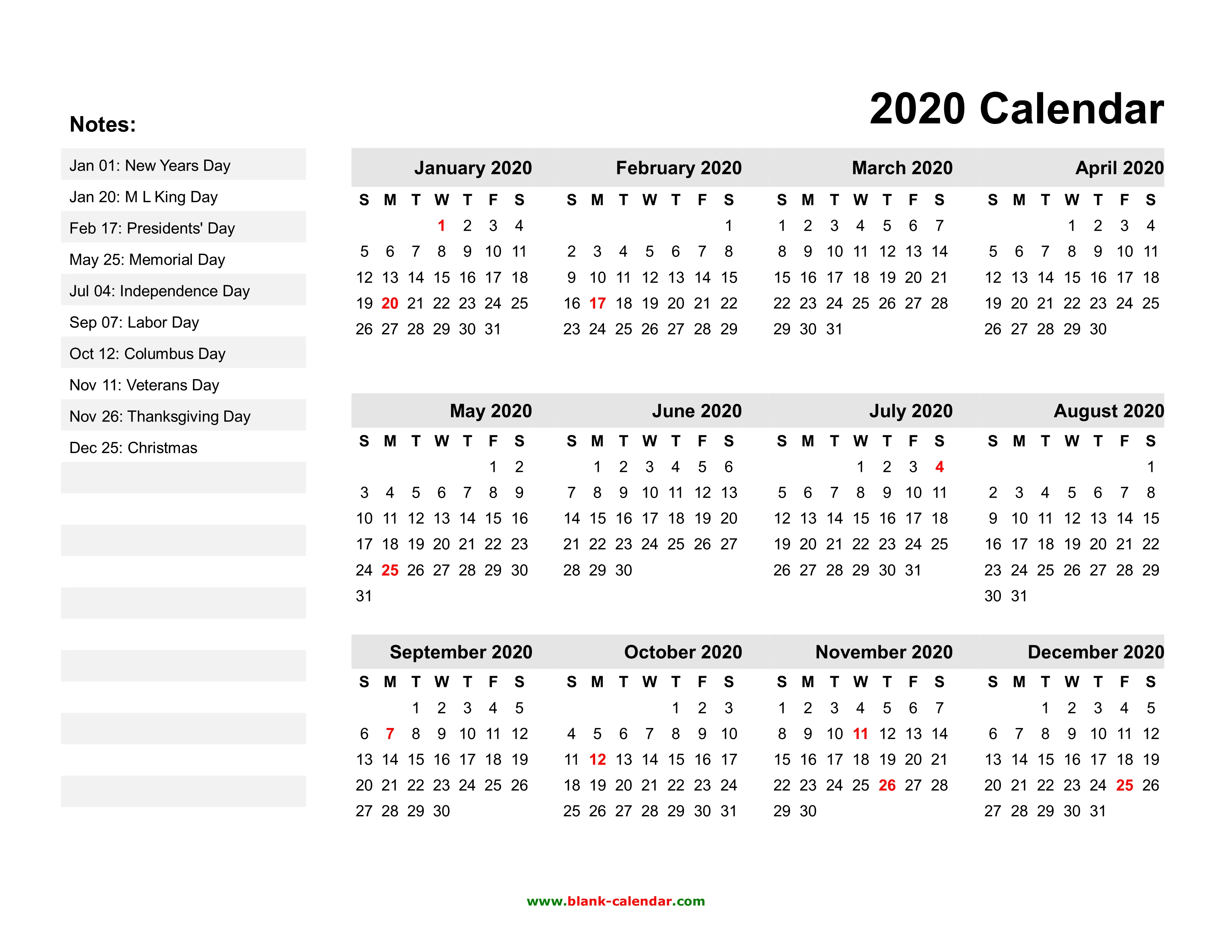 2020 Yearly Calendar With Holidays Yearly Calendar 2020 | Free Download and Print