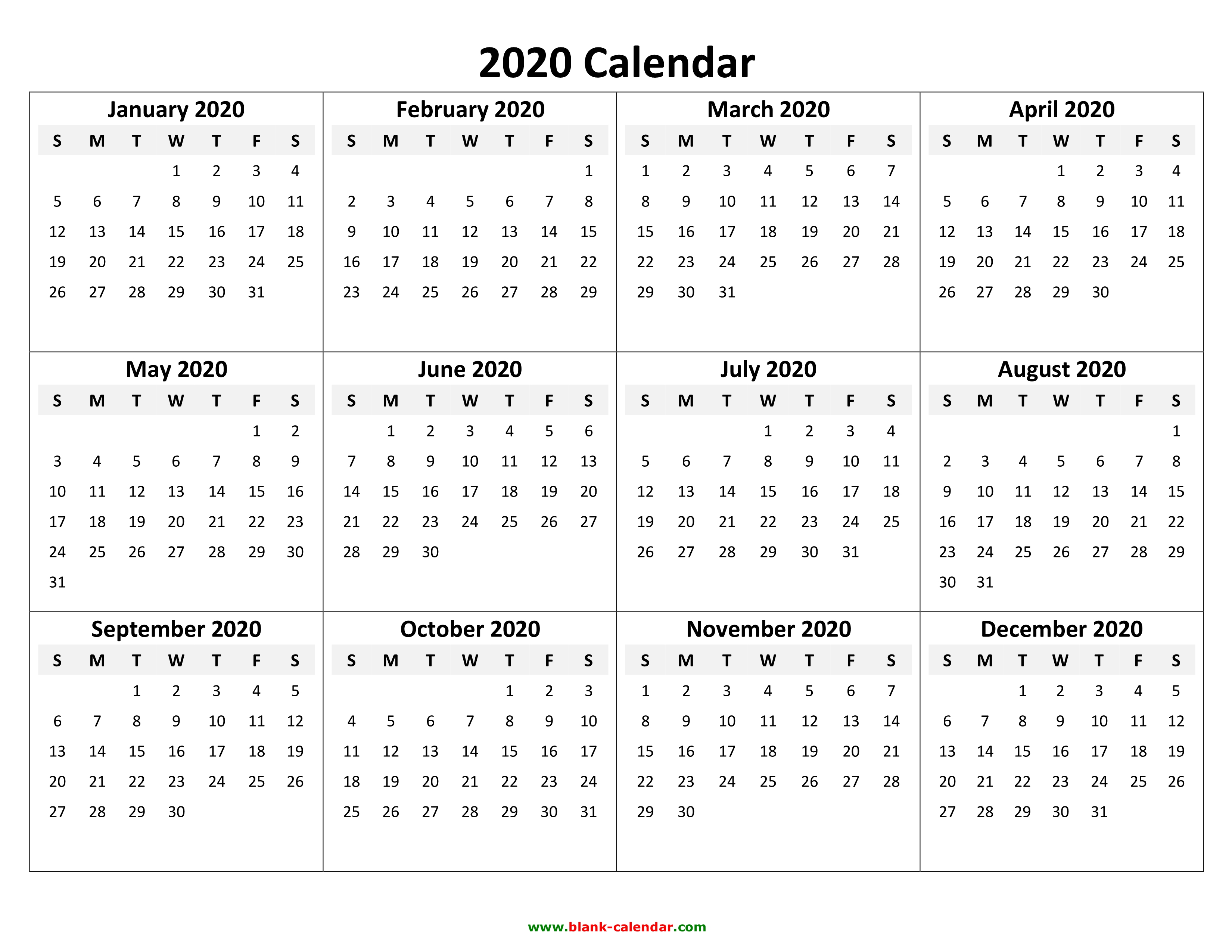 Printable Year Calendar 2020 Yearly Calendar 2020 | Free Download and Print