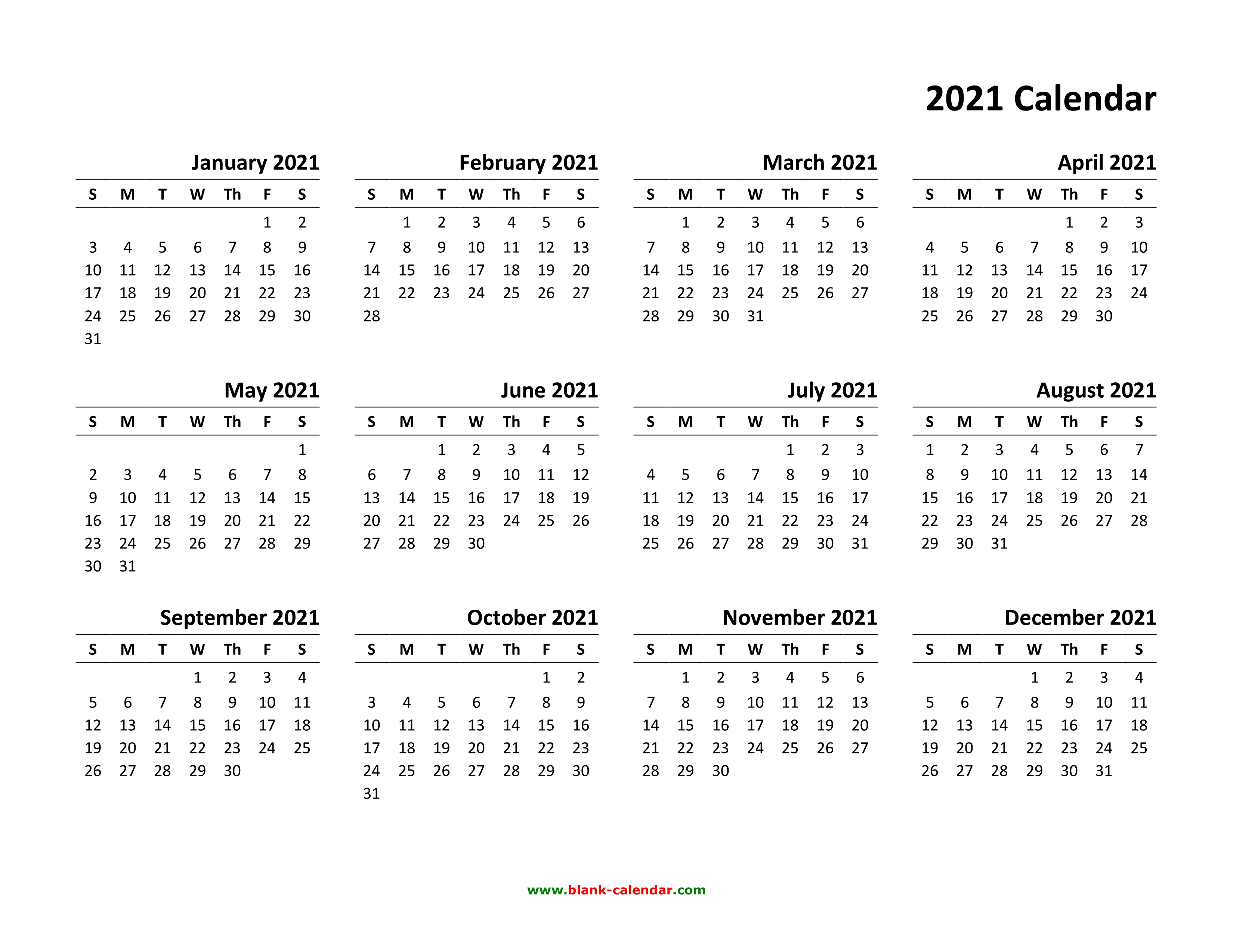 Download Calendar 2021 Yearly Calendar 2021 | Free Download and Print
