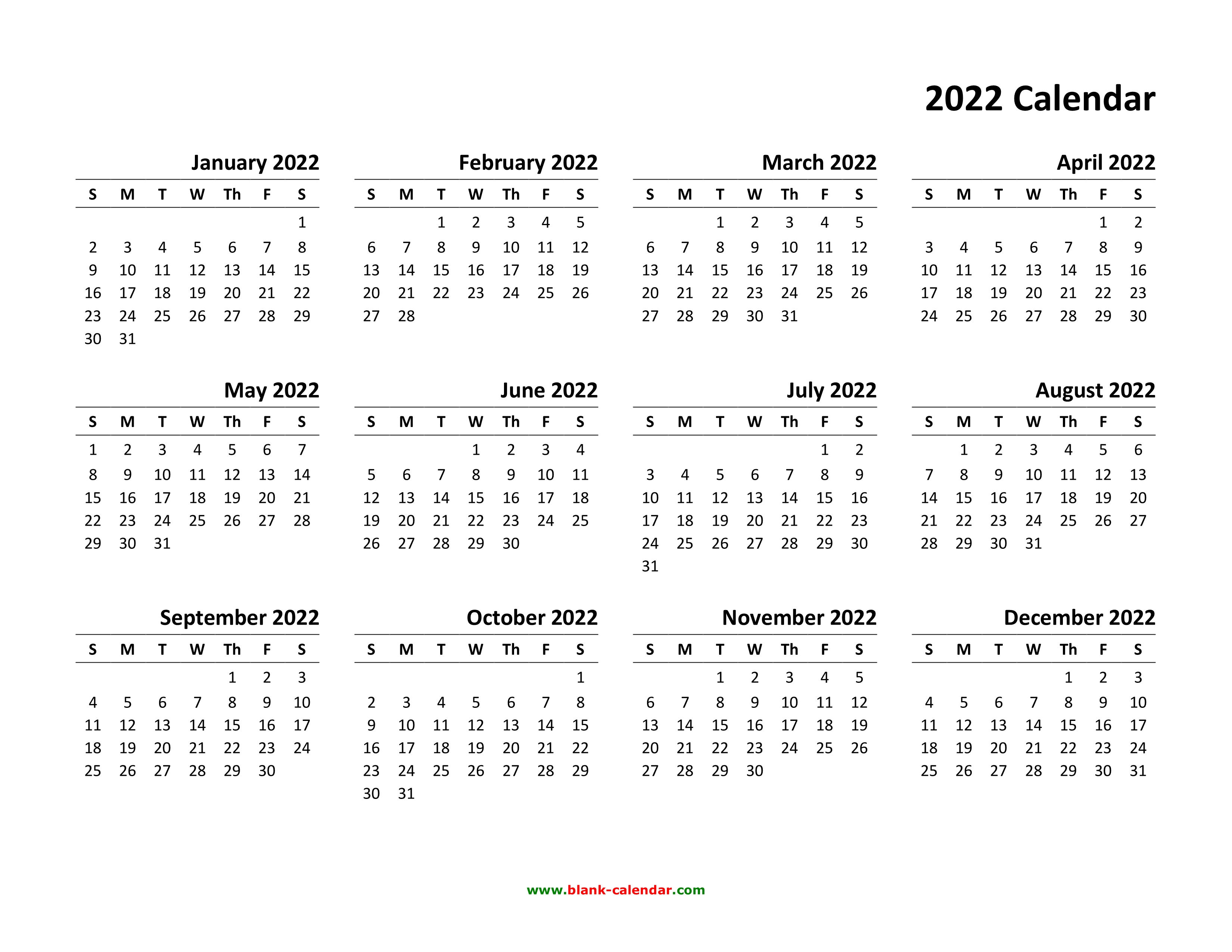 2022 Downloadable Calendar.Yearly Calendar 2022 Free Download And Print