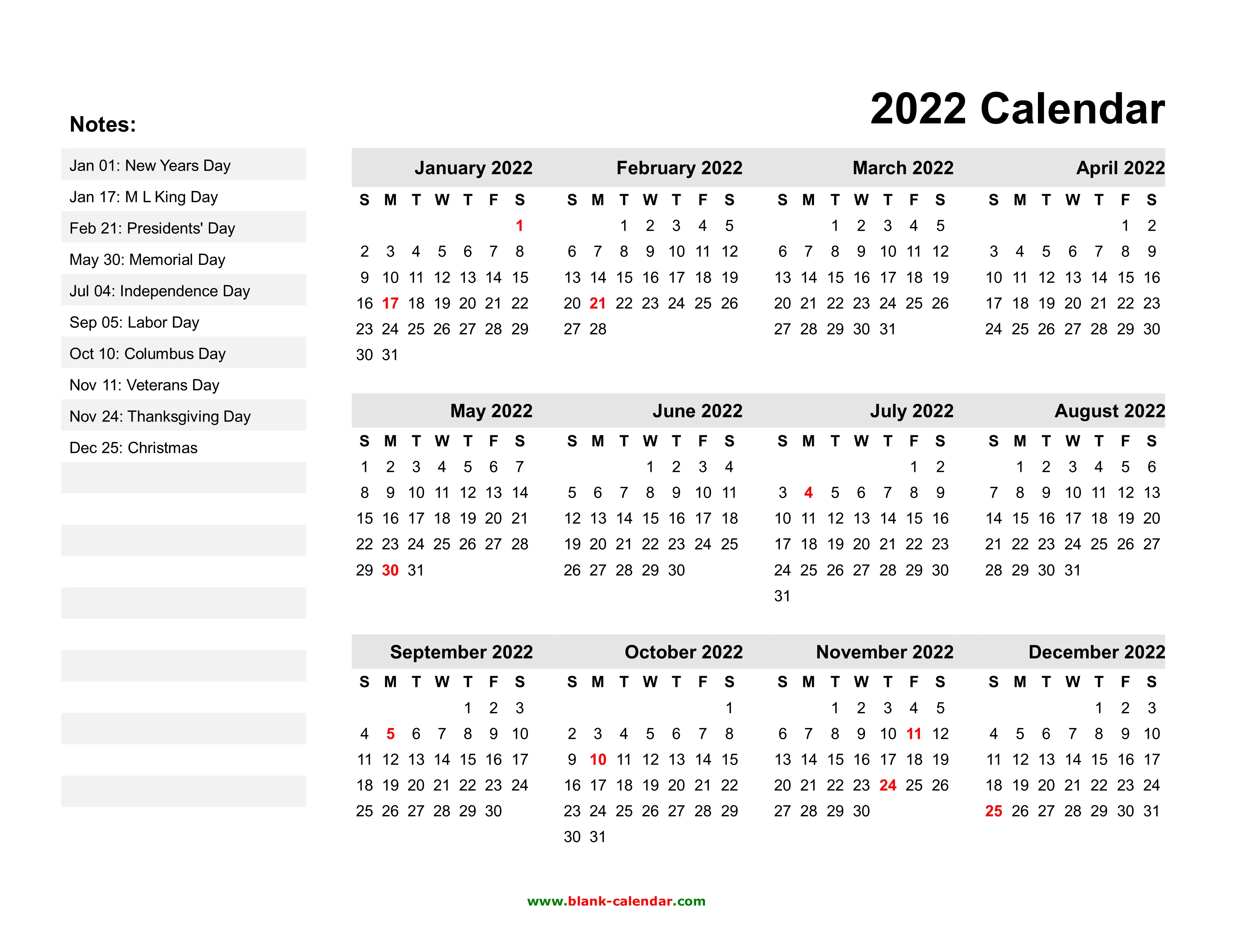 Day Of Year Calendar 2022.Yearly Calendar 2022 Free Download And Print