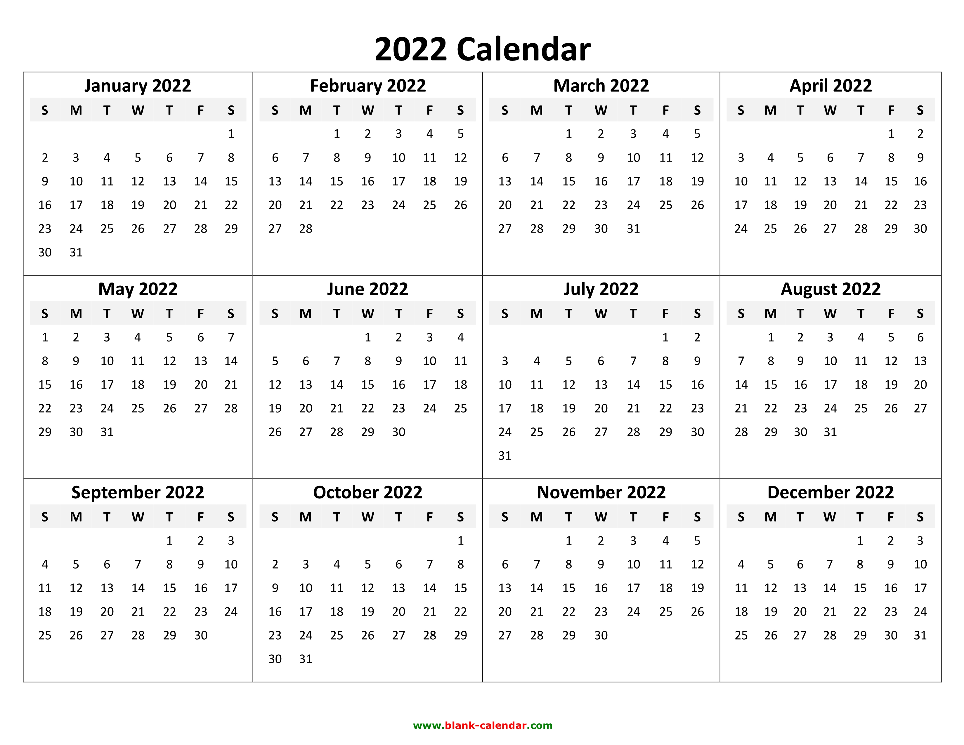 Blank 2022 Calendar Pdf.Yearly Calendar 2022 Free Download And Print