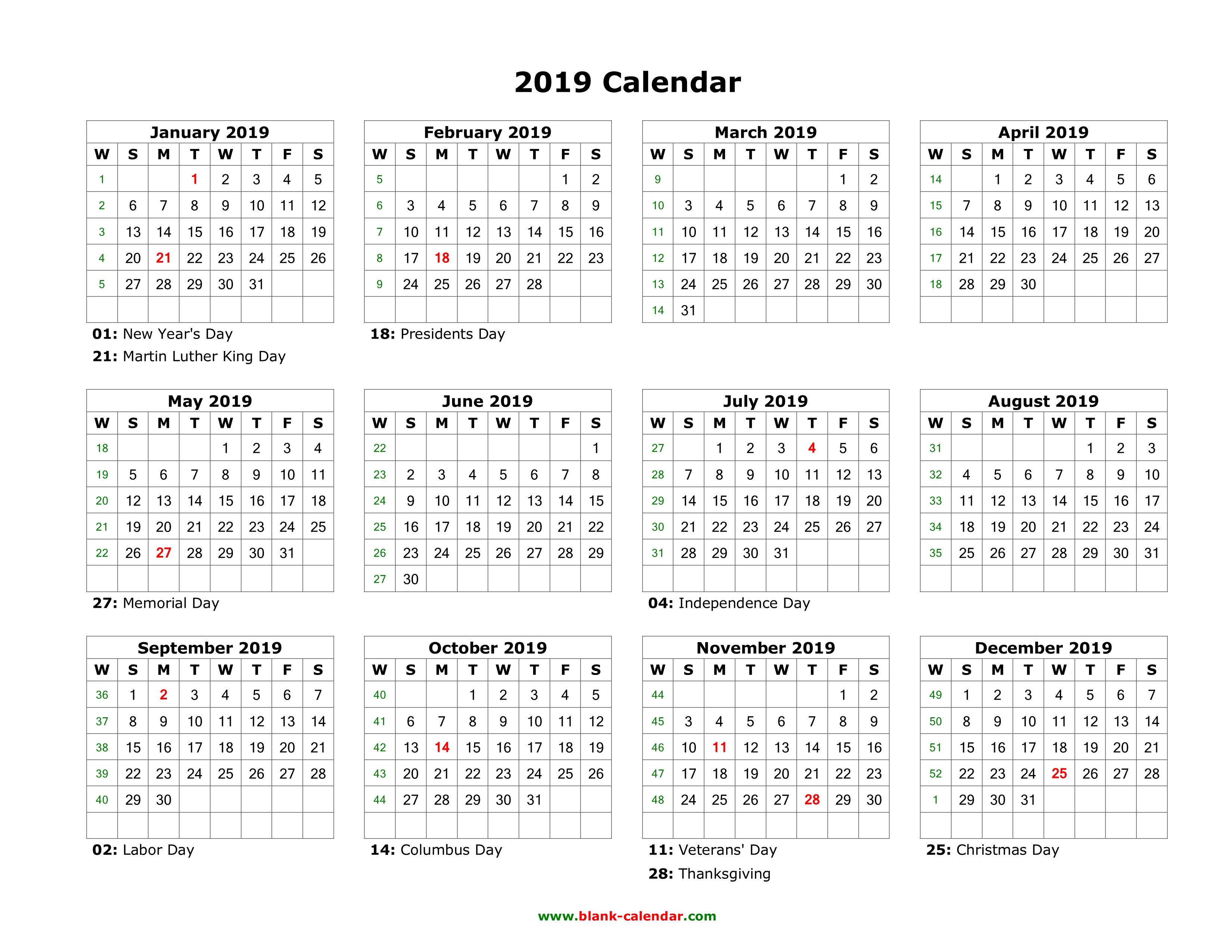 Year Calendar Horizontal : Download blank calendar with us holidays months