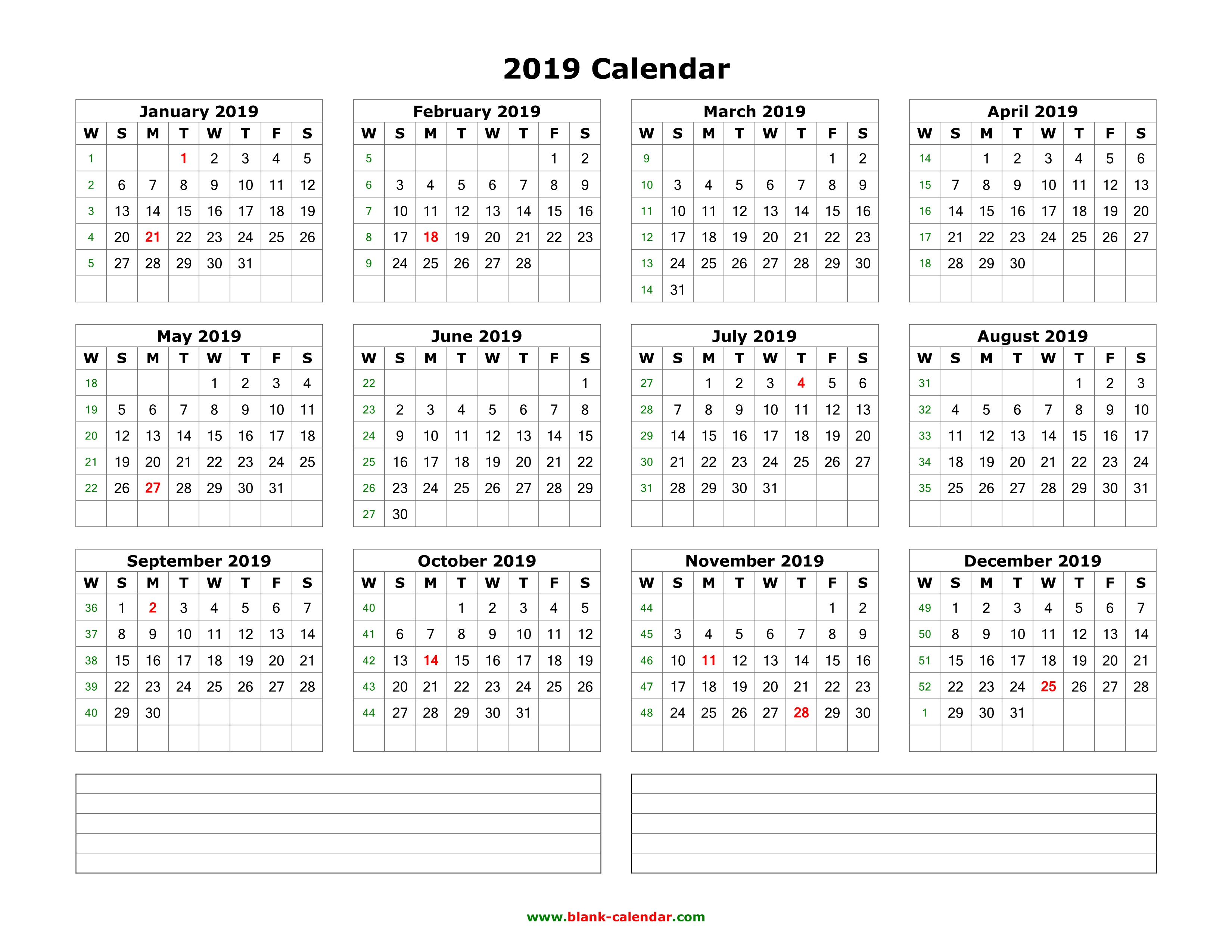Blank Calendar No Numbers : Download blank calendar with space for notes