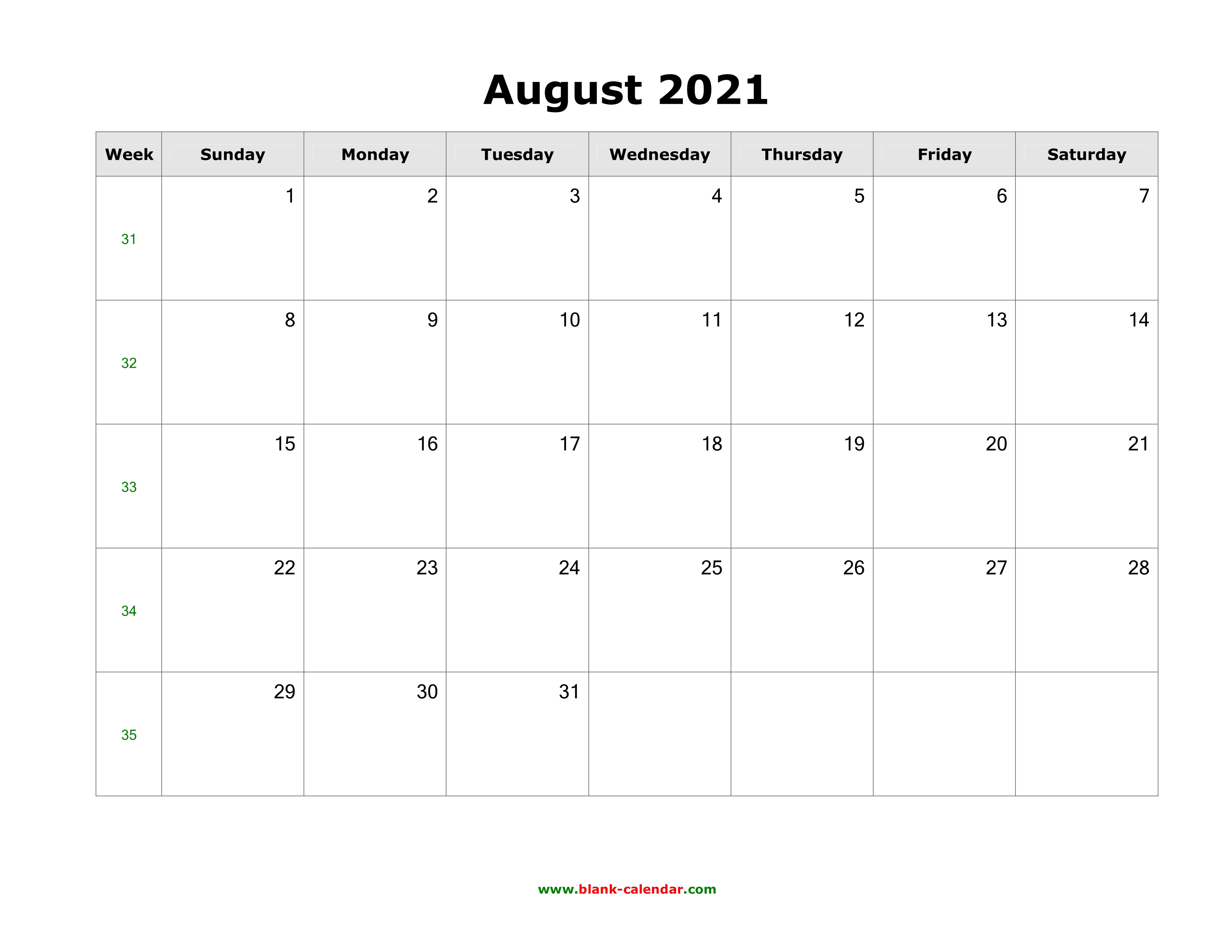 Download August 2021 Blank Calendar with US Holidays ...