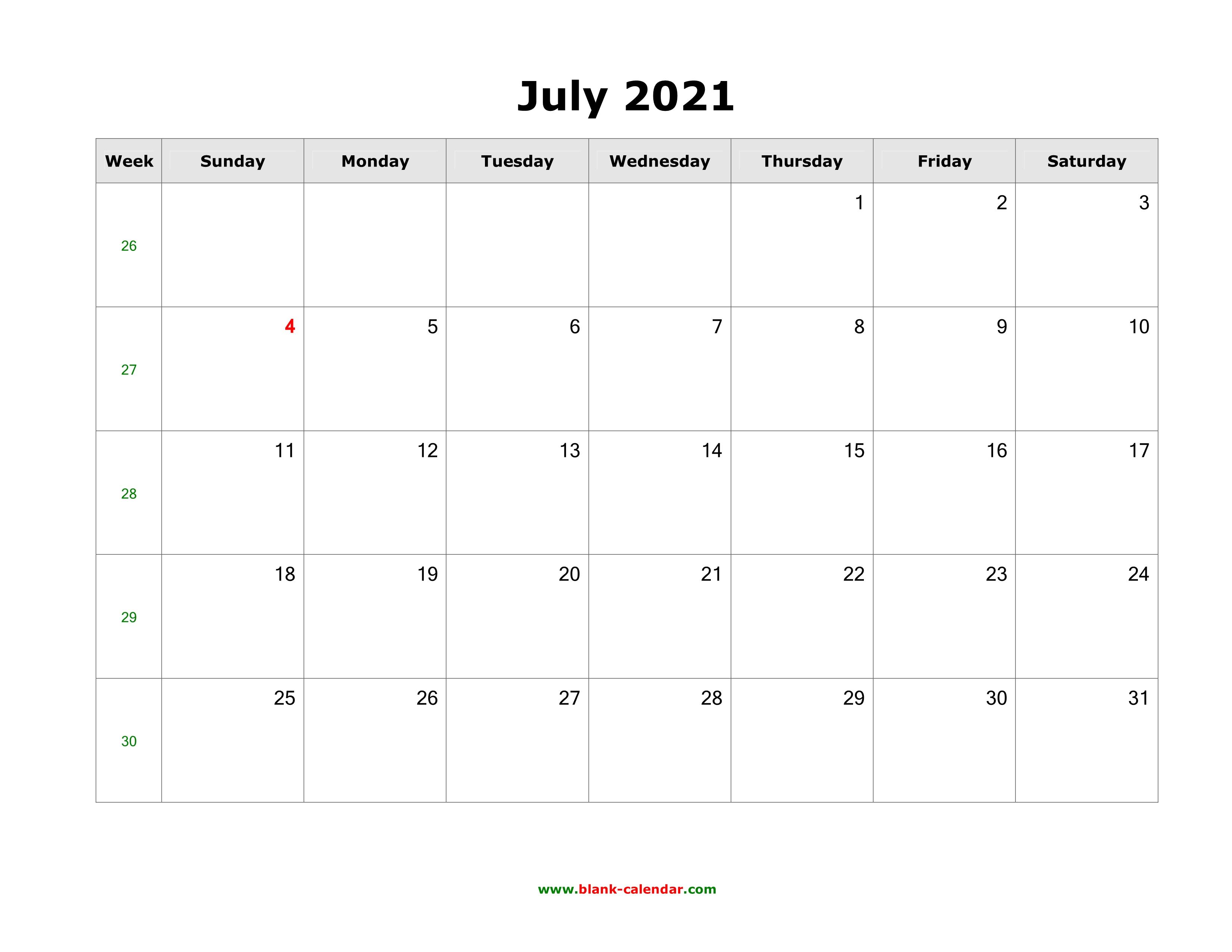 Download July 2021 Blank Calendar (horizontal)