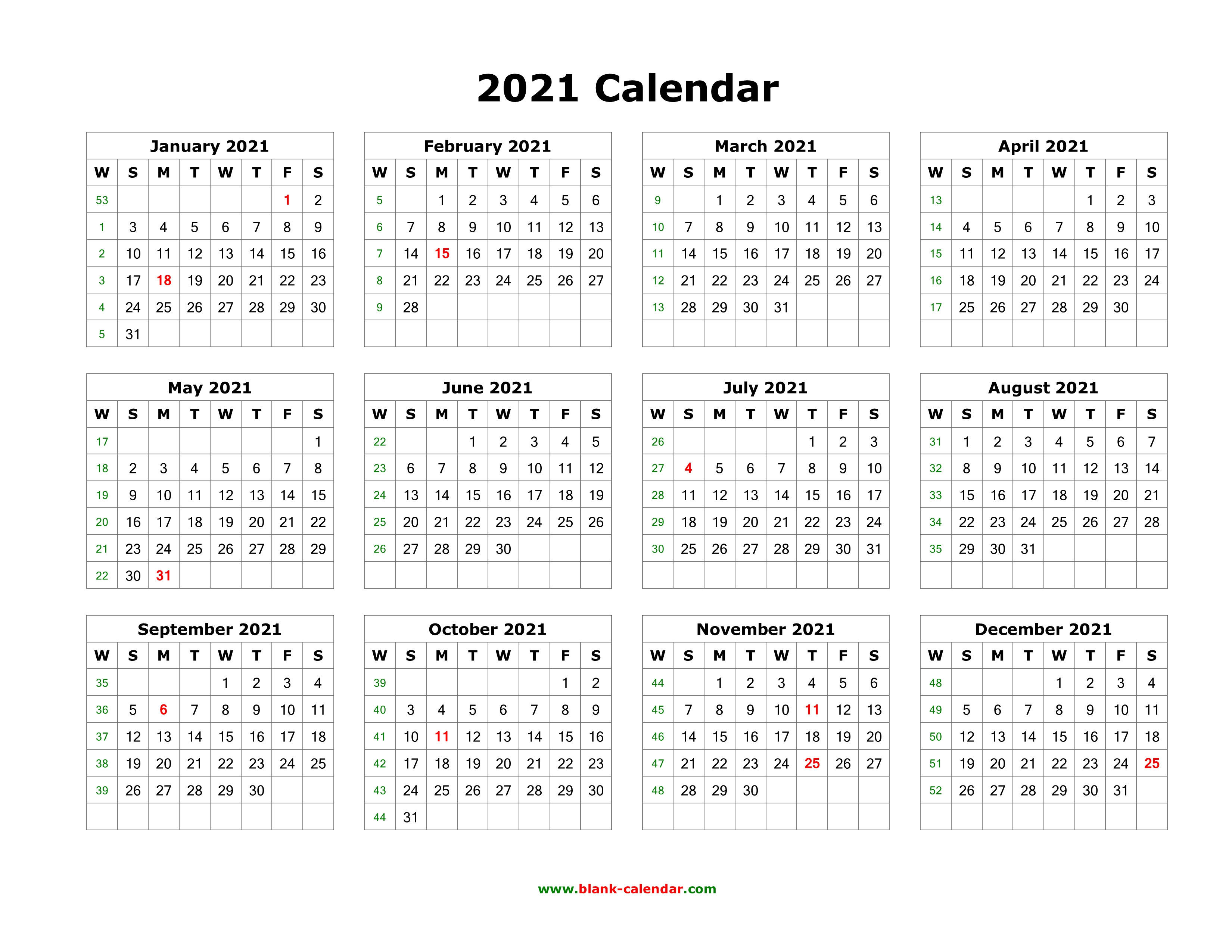 Download Blank Calendar 2021 (12 months on one page ...