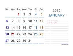 2019 Excel Calendar Large Space (horizontal)