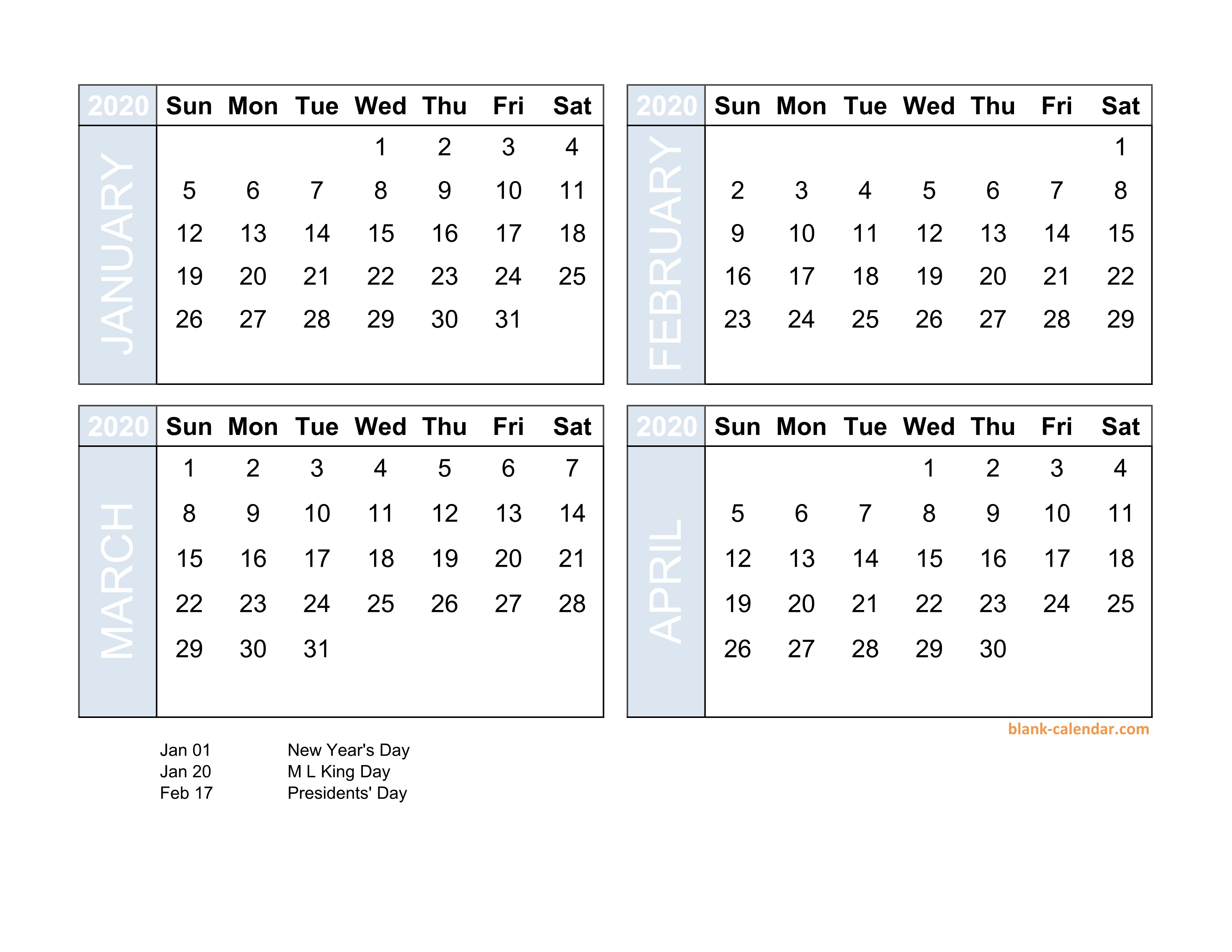 4 Month Calendar 2020 Free Download 2020 Excel Calendar four month in landscape format