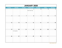 2020 Excel Calendar Free Download Excel Calendar Templates