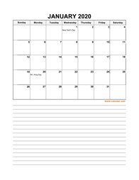 2020 excel calendar, large day boxes, space for notes