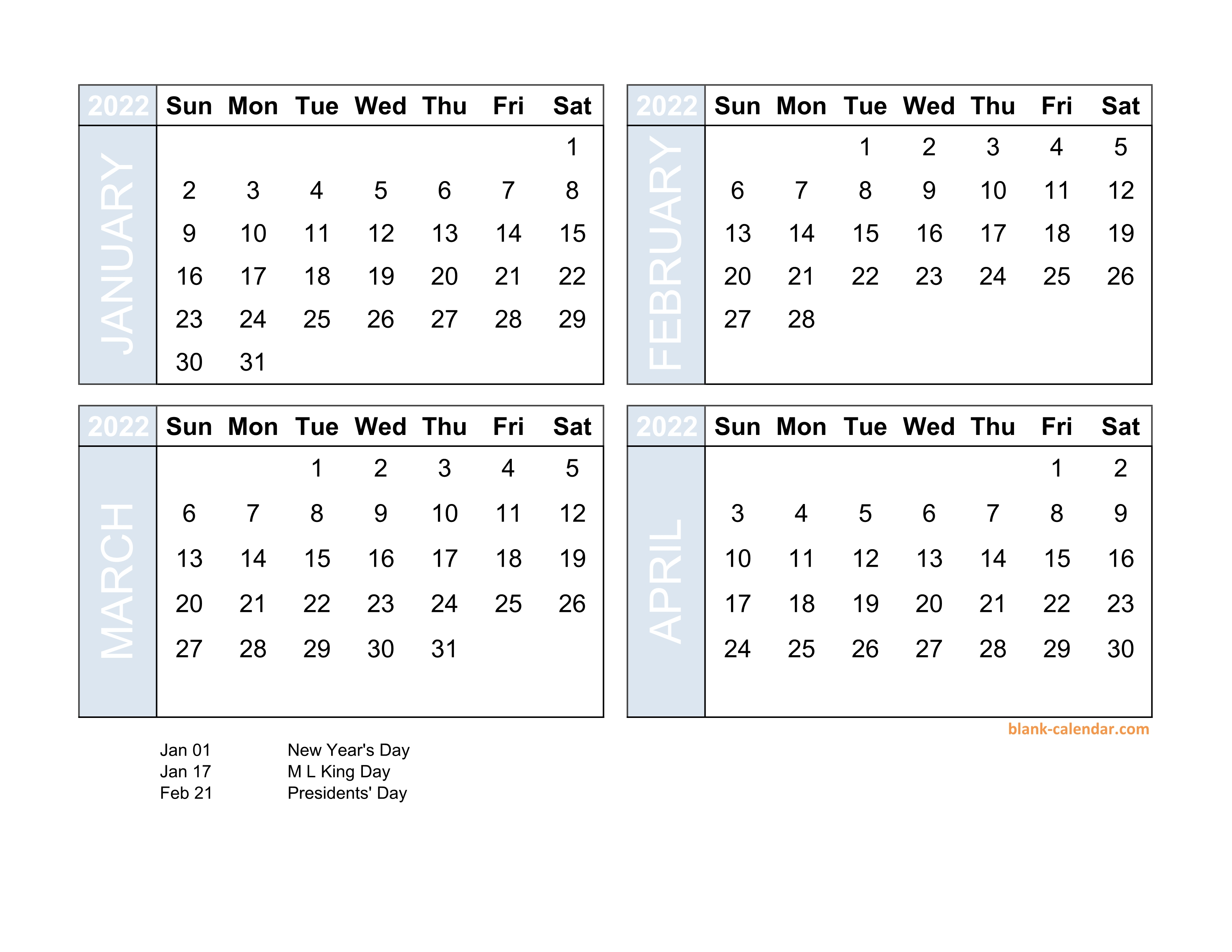 4 Month Calendar 2022.Free Download 2022 Excel Calendar Four Month In Landscape Format