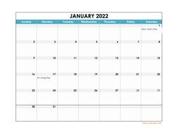 2022 Excel Calendar large boxes in the grid (horizontal)
