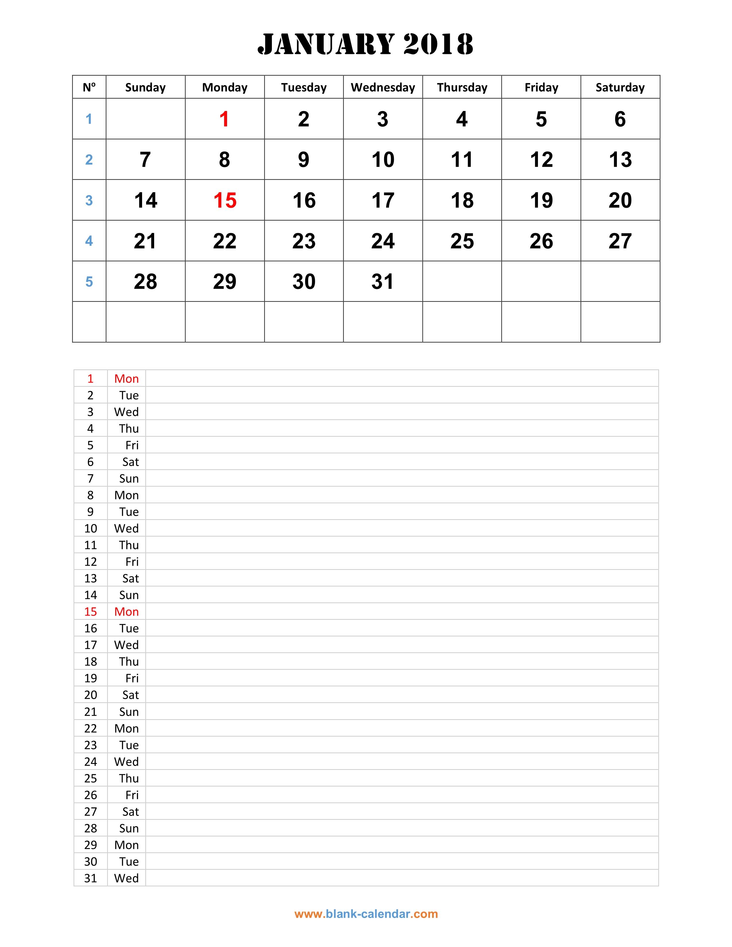 monthly calendar 2018 template