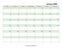 monthly calendar 2020 template 03
