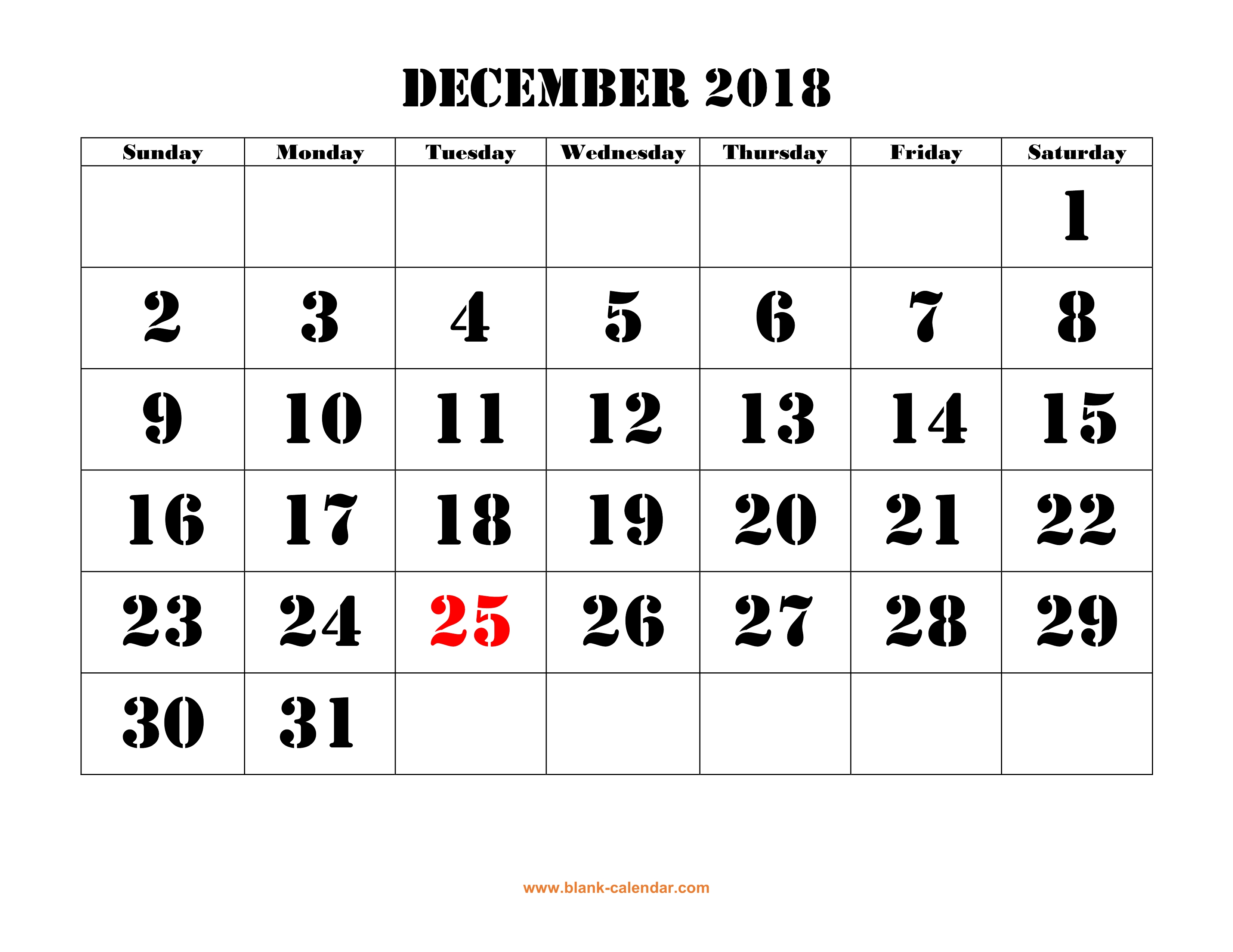 picture regarding Printable Calendar Dec identify December 2018 Printable Calendar Cost-free Obtain Month-to-month