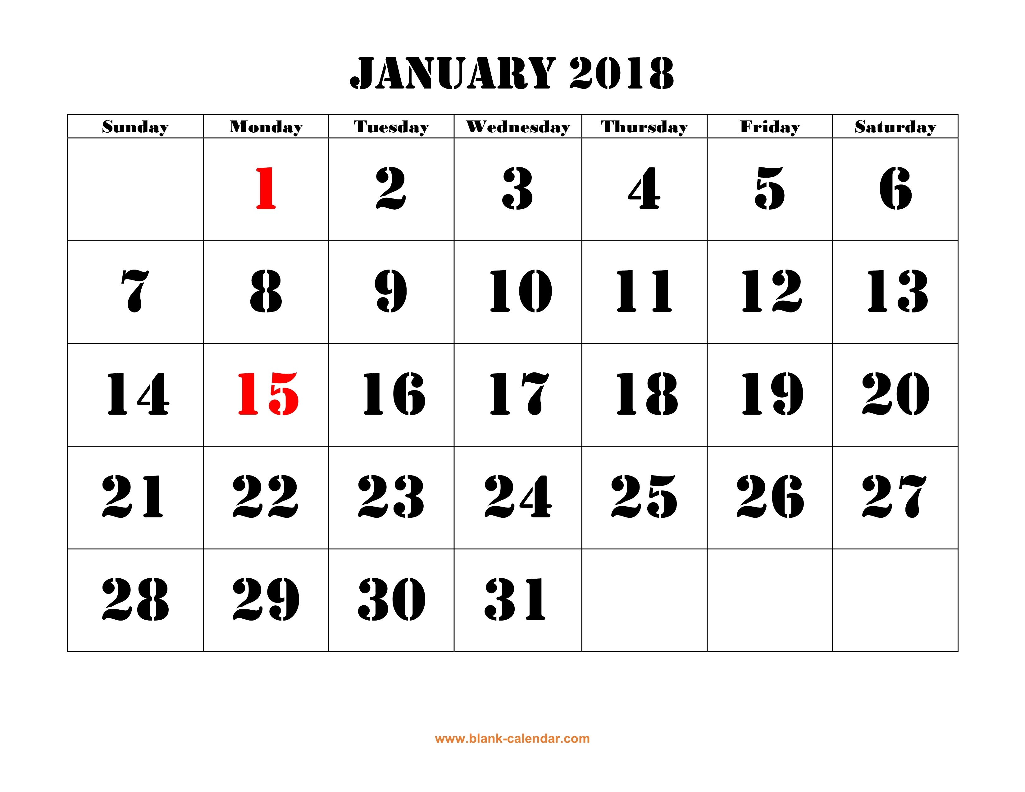 Blank Horizontal Calendar : Free download printable january calendar large font