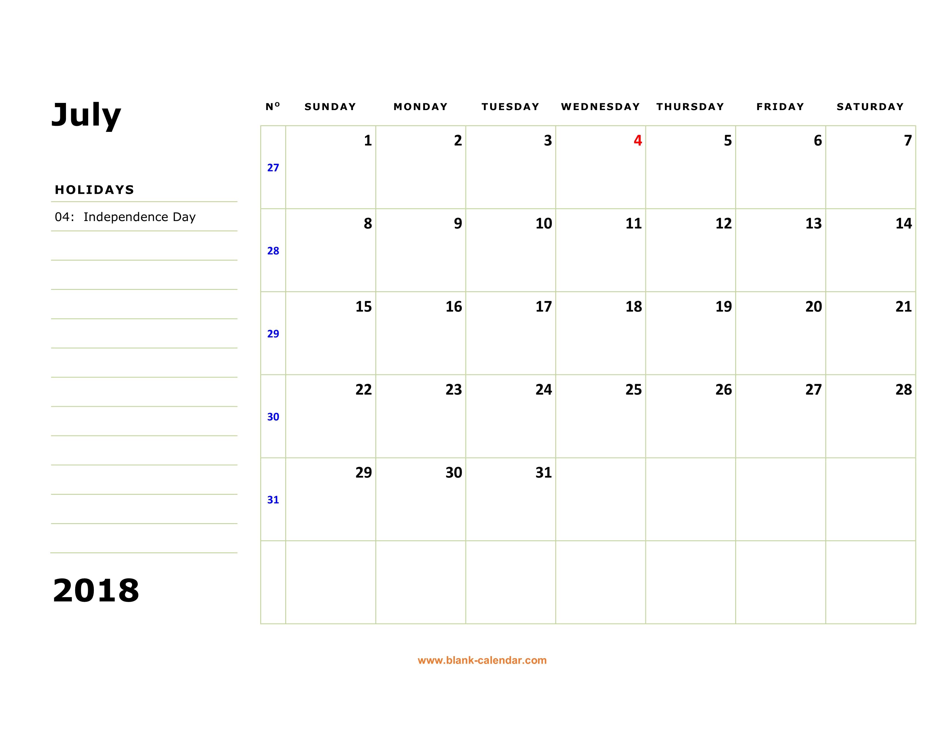 Calendar Large Boxes : Free download printable july calendar large box