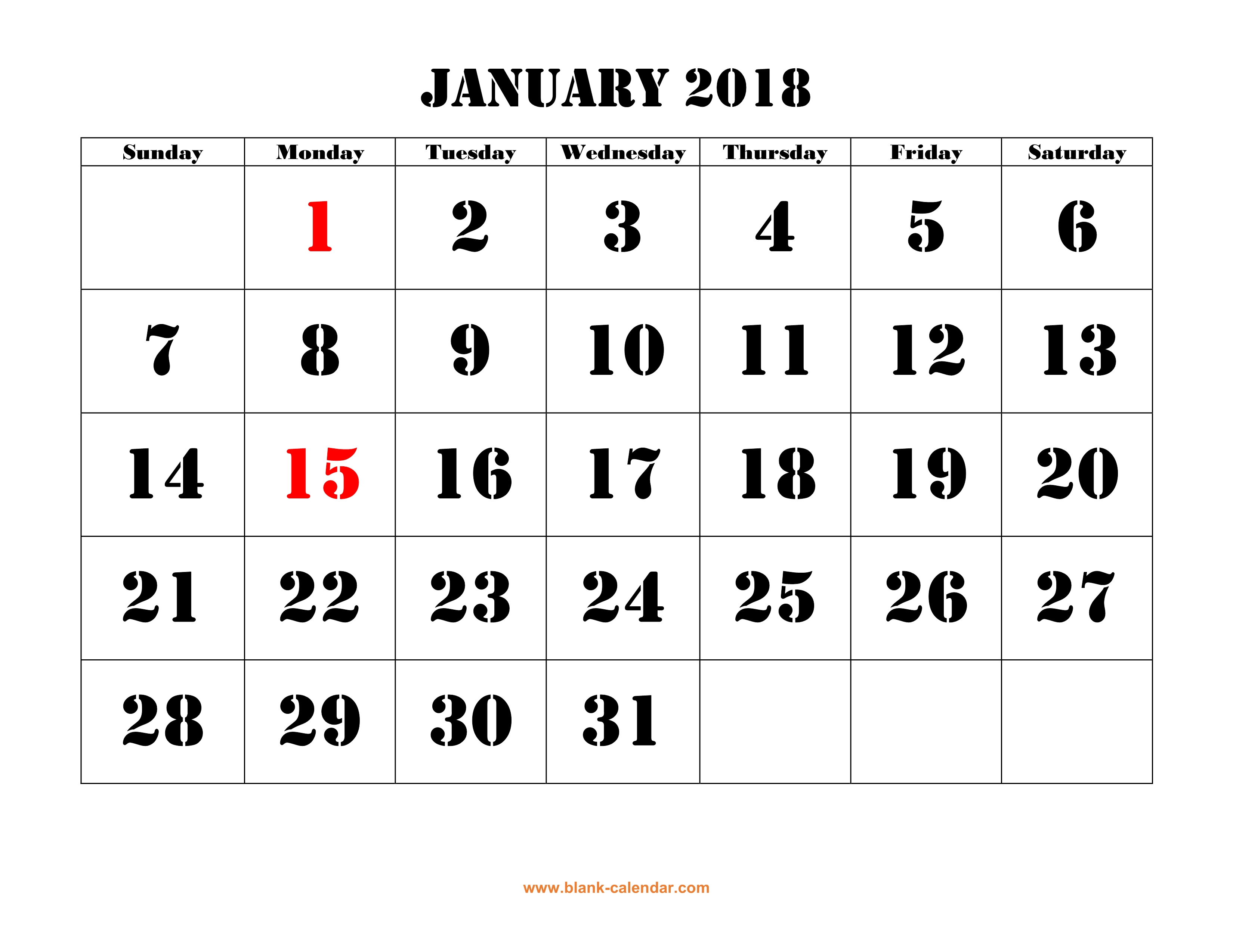 printable calendar 2018 large font design holidays on red one month per page