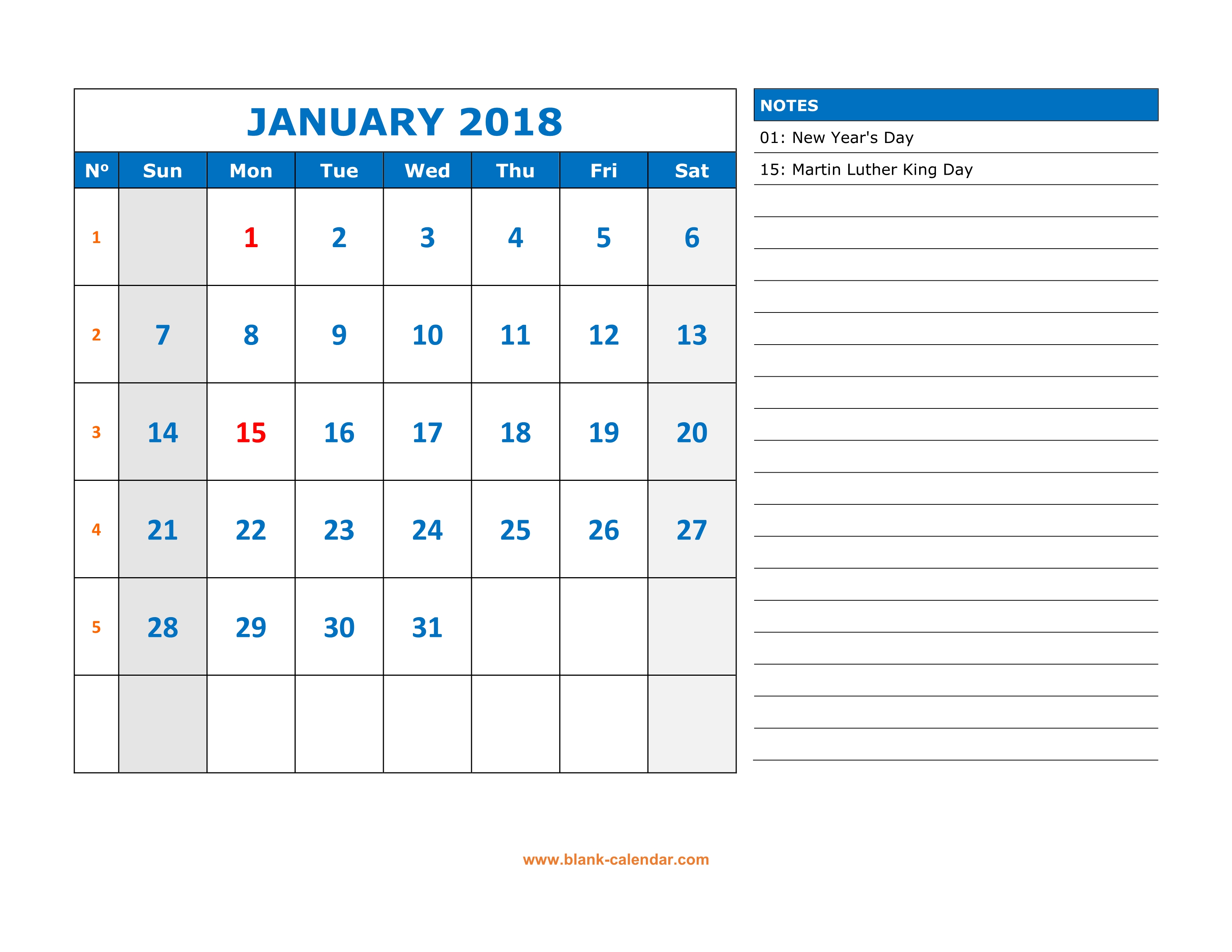 Weekly Calendar With Notes : Free download printable calendar large space for