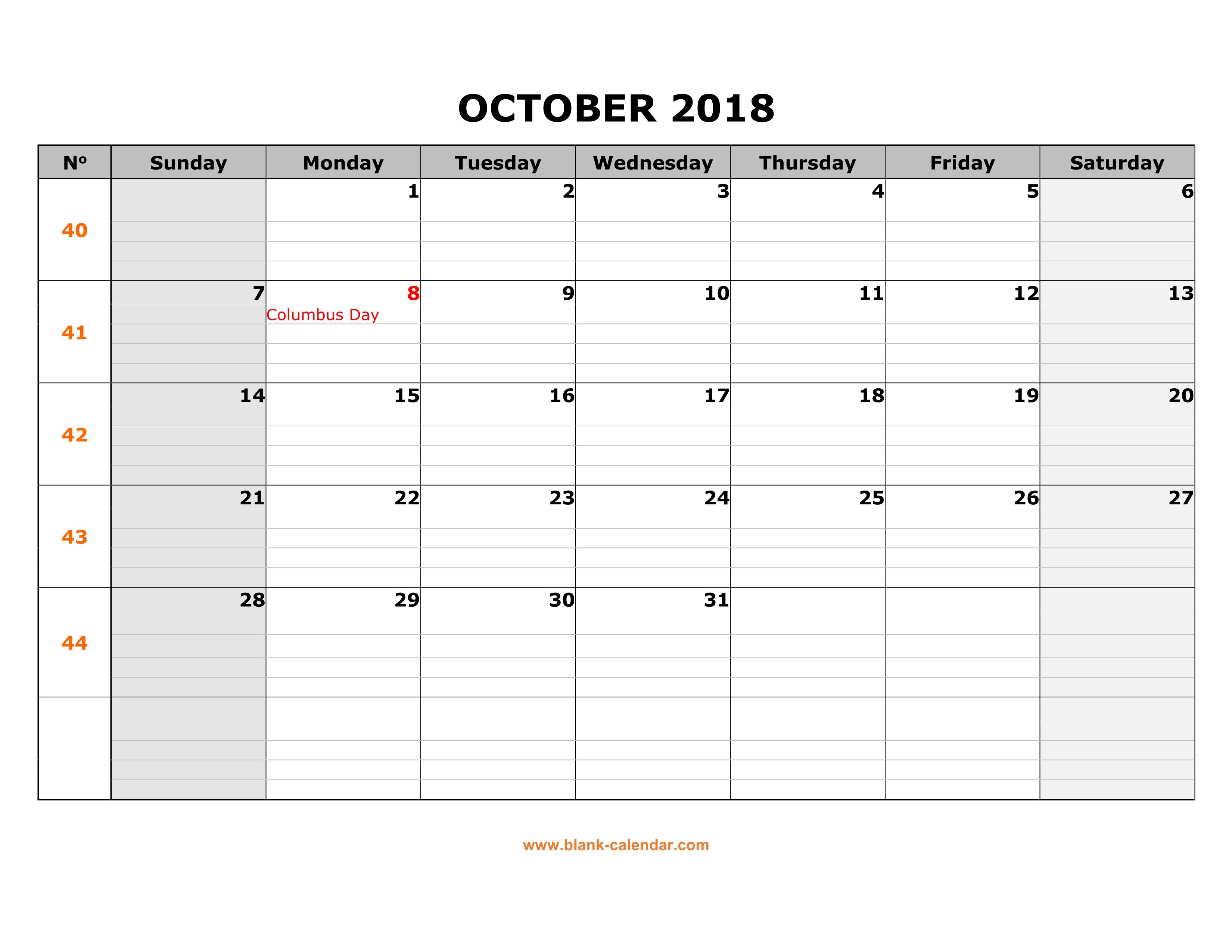 Free Download Printable October 2018 Calendar, large box ...
