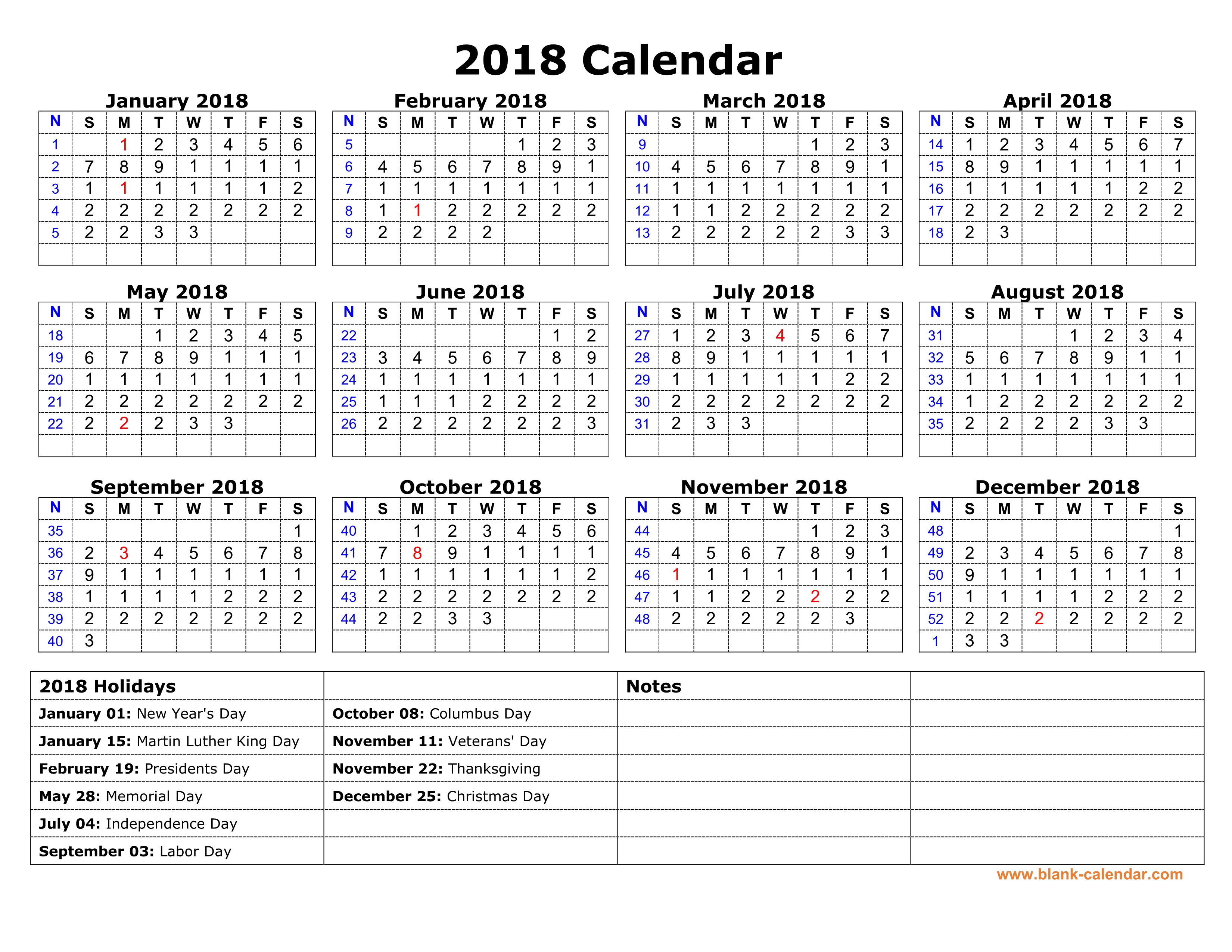Blank Calendar With Us Holidays : Free download printable calendar with us federal