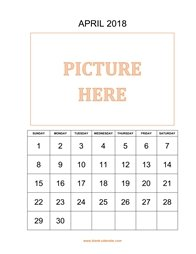 printable april calendar 2018 add picture