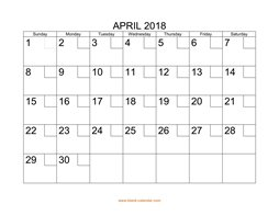 printable april 2018 calendar check boxes