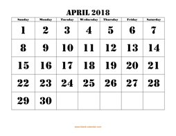 printable monthly calendar april 2018