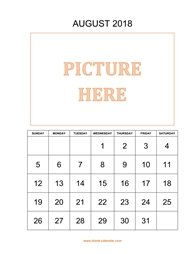 printable august 2018 calendar, pictures can be placed at the top
