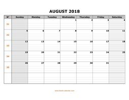 printable august 2018 calendar large box grid, space for notes