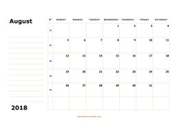 printable august 2018 calendar, large box, space for notes