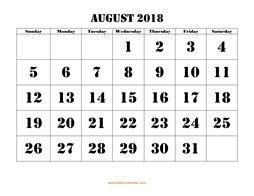 printable august 2018 calendar larger font