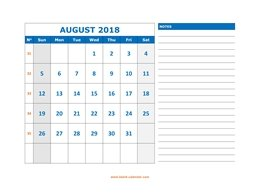 Printable August 2018 Calendar, large space for appointment and notes (horizontal)