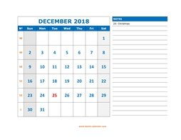 printable december calendar 2018 large space appointment notes