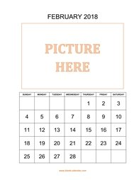 printable february calendar 2018 add picture