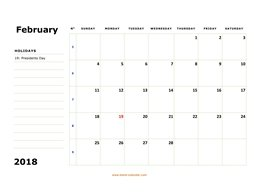 printable february calendar 2018 large box space notes