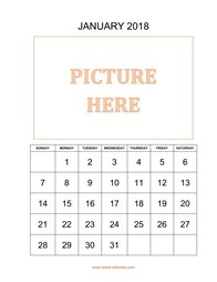 printable january 2018 calendar, pictures can be placed at the top