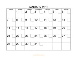 printable january 2018 calendar check boxes