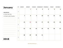 printable january 2018 calendar, large box, space for notes