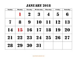 printable january 2018 calendar larger font