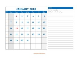 printable january calendar 2018 large space appointment notes