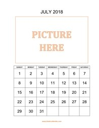 Printable July 2018 Calendar, pictures can be placed at the top