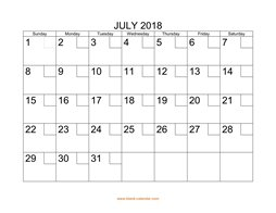 printable july 2018 calendar check boxes
