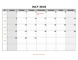 printable july calendar 2018 large box grid