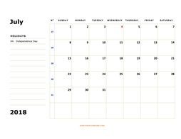 printable july 2018 calendar, large box, space for notes