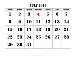 printable july calendar 2018 large font