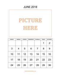 printable june calendar 2018 add picture
